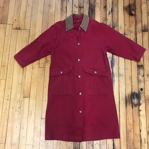 Vintage 90s red cotton trench with leather collar